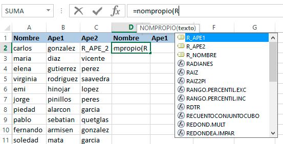 Renombrar rangos en Excel 365